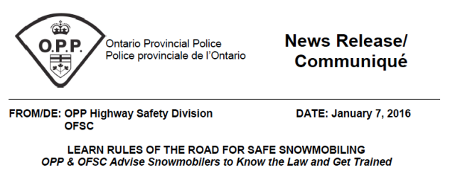 OPP OFSC Statement on Snowmobile Safety
